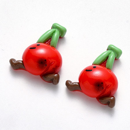 Resin Cabochons, Cherry, Imitation Food, Red, 22.5x20x9mm
