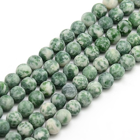 Nbeads Frosted Natural Green Spot Jasper Round Bead Strands, 6mm, Hole: 1mm; about 63~65pcs/strand, 14.9~15.6