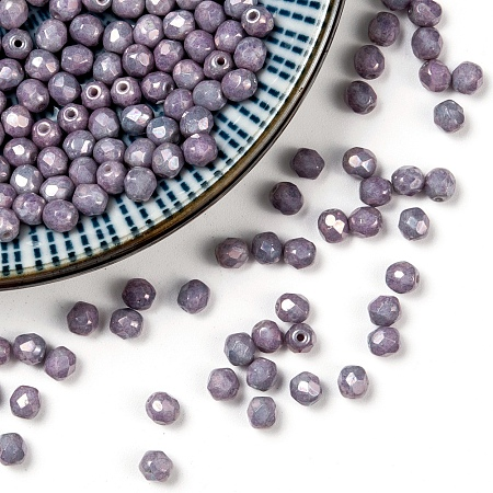 NBEADS Czech Fire Polished Glass Beads, Faceted, Drum, Thistle, 4x4mm, Hole: 0.8mm; about 115pcs/10g