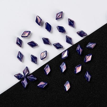 NBEADS Czech Glass Beads, 2-Hole, Rhombus, DarkSlateBlue, 8x5x3.5mm, Hole: 0.8mm; about 64pcs/10g