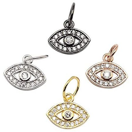 PandaHall Elite 10 Pcs Cubic Zirconia Brass Evil Eye Pendant Charms for Jewelry Making, Assorted Color