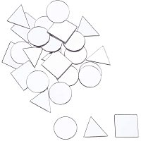 Arricraft 150pcs 3 Shapes Craft Mirrors Tiles Mirror Mosaic Tiles Self Adhesive Mirror Wall Stickers for Crafts Making Home Decoration (Triangle, Square, Flat Round)