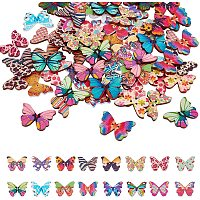 NBEADS 120 Pcs Butterfly Wooden Button, 3 Sizes Colorful 2 Holes Mixed Butterfly Charm Button for Sewing Scrapbooking DIY Craft Clothes Accessories