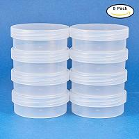 BENECREAT 8 Pack Round Frosted Plastic Bead Storage Containers Box Case with Flip - Up Lids for Items, Pills, Herbs, Tiny Bead, Jewelry Findings, and Other Small Items - 2.63x1 Inches
