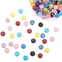 PH PandaHall 105pcs 7 Colors Glittery Resin Cabochons Glitter Powder Gold Foil Flat Back Beads Cabochon Embellishments for Craft Scrapbooking Phonecover Jewelry Making (12mm)