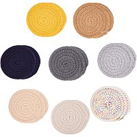 """NBEADS 16 Pcs 8 Colors Braided Cup Coasters, Cotton Round Woven Coasters Hot Pads Mats for Kitchen Dinner Table (4.6"""")"""