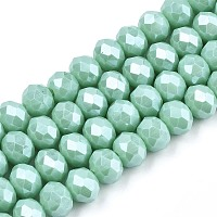 Arricraft Electroplate Glass Beads Strands, Pearl Luster Plated, Faceted, Rondelle, Medium Aquamarine, 8x6mm, Hole: 1~1.4mm; about 67~72pcs/strand, 16.14~16.53 inches(41~42cm)