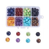NBEADS Resin & Natural Lava & Red Agate & Lapis Lazuli & Tiger Eye & Regalite & Amethyst Beads, Chakras, Round, 8mm, Hole: 1.2mm, 160pcs/box