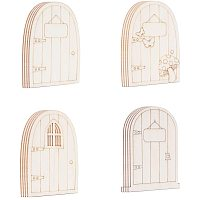 NBEADS 24 Pcs Unpainted Fairy Theme Mini Door Shape Wooden Pieces, 4 Patterns Wood Fairy Garden Door Miniature DIY Craft Embellishments for Home Office Birthday Wedding Party Decoration, Antique White
