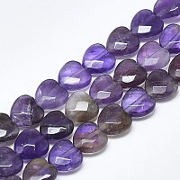ARRICRAFT Natural Amethyst Beads Strands, Faceted, Heart, 10x10x5mm, Hole: 1.2mm; about 20pcs/strand, 7.4 inches