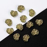 Arricraft Autumn Theme Czech Glass Beads, Maple Leaf, Olive, 10.5x13x4mm, Hole: 0.8mm, about 11pcs/10g