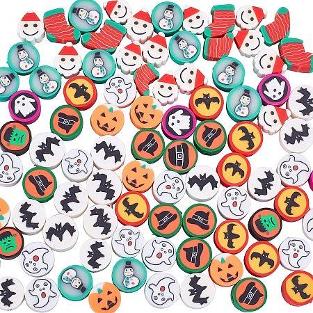 NBEADS 100 Pcs Polymer Clay Beads, Halloween/Christmas Theme Handmade Clay Beads for DIY Jewelry Making