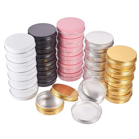 BENECREAT 30 Pack 2 OZ Mixed Color Tin Cans Screw Top Round Aluminum Cans Screw Lid Containers Tins with Lids - Great for Store Spices, Candies, Tea or Gift Giving