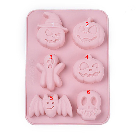 Arricraft Halloween Theme, Food Grade Silicone Molds, Fondant Molds, For DIY Cake Decoration, Chocolate, Candy, Soap, UV Resin & Epoxy Resin Jewelry Making, Mixed Shapes, Pink, 214x152.5x21.5mm