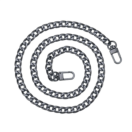 PandaHall Elite 1 Pack 47.2 Inches Iron Flat Chain Strap Handbag Chains Accessories Purse Straps Shoulder Cross Body Replacement Straps with 2 Pieces Swivel Buckles Gunmetal