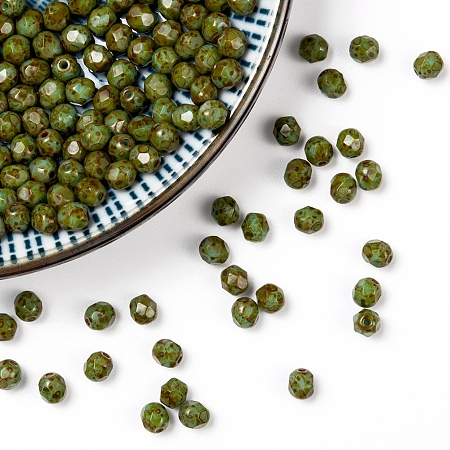 NBEADS Czech Fire Polished Glass Beads, Faceted, Drum, OliveDrab, 4x4mm, Hole: 0.8mm; about 115pcs/10g