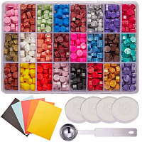 CRASPIRE DIY Letter Kit, with Sealing Wax Particles for Retro Seal Stamp, Stainless Steel Spoon, Colored Blank Mini Paper Envelopes and Candle, Mixed Color