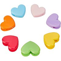 PandaHall 28pcs 7 Colors Plastic Memo Photo Clips, Heart Shape Decorative Clips for Stationery Store Office School Supplies