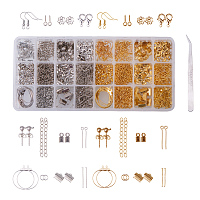 PandaHall Elite About 1480 Pcs Jewelry Finding Kits Earring Hook, Lobster Claw Clasps, Ribbon Clamp End, Jump Ring, Cord End, Flower Bead Cap, Screw Eye Pin, Extender Chain Tweezers 2 Colors