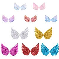 PandaHall Elite 60pcs 2 Sizes Glitter Fabric Angel Wings Embossed 10 Colors Iridescent Wings Patches DIY Sequined Applique for Bag Clothes Hair DIY Crafts Decoration