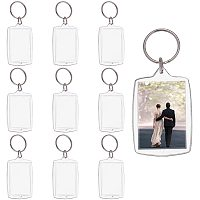 PandaHall Elite 30 Sets Acrylic Photo Snap in Keychain 61.5x40x4.5mm Square Custom Blank Photo Keyring DIY Picture Frames Clear
