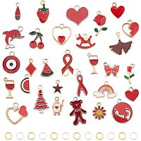 PH PandaHall 30 Style Red Theme Enamel Charms Pendants with 60pcs Jump Rings for Christmas Necklace Earrings Bracelet Jewelry Making