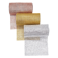 24 Rows Plastic Mesh Rhinestone Trimming, Rhinestone Cup Chains, Mixed Color, 121x1mm; 3 colors, 2yards/color, 6yards/set