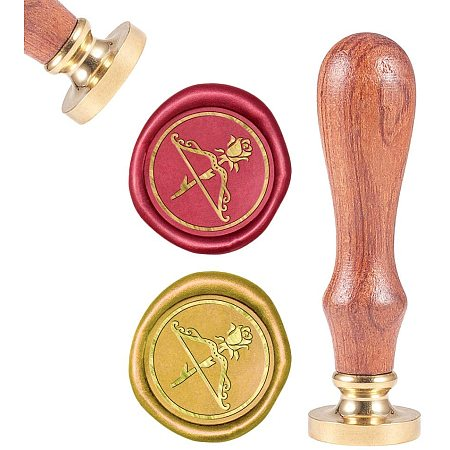 CRASPIRE Wax Seal Stamp, Sealing Wax Stamps Rose Bow and Arrow Retro Wood Stamp Wax Seal Removable Brass Seal for Envelope Invitation Wedding Embellishment Bottle Decoration