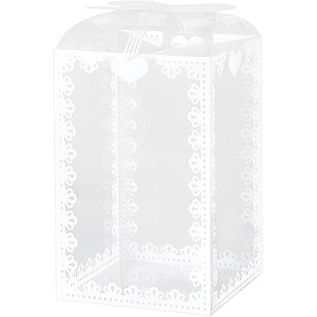 BENECREAT 24PCS 3.5x3.5x5.5 Inch Clear Wedding Favour Boxes with Bowknot Pattern Rectangle PVC Transparent Gift Boxes for Candy Chocolate Valentine Gift Wrapping