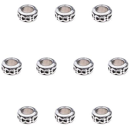 PandaHall Elite 200pcs Large Hole Spacer Beads Tibetan Alloy Antique Silver European Rondelle Spacers for Bracelet Necklace DIY Jewelry Making, 7mm, Hole: 3.5mm