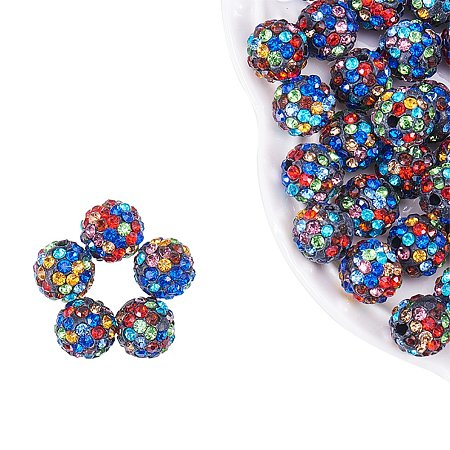 NBEADS 10mm 100pcs Colorful Pave Czech Crystal Rhinestone Disco Ball Clay Spacer Beads, Round Polymer Clay Charms Beads for Shamballa Jewelry Making