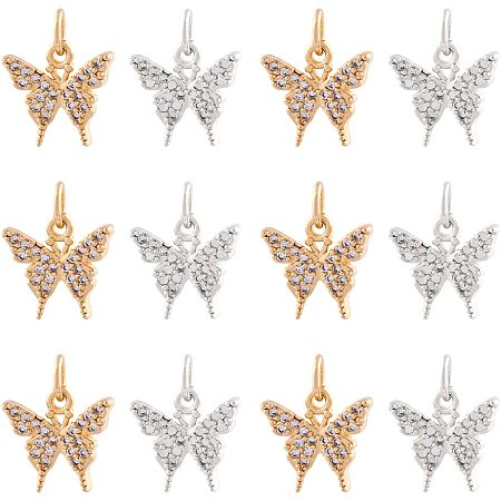 NBEADS 12 Pcs 2 Colors Butterfly Brass Zirconia Beads Micro Pave Cubic Zirconia Stones Butterfly Charm Beads for Jewelry Making