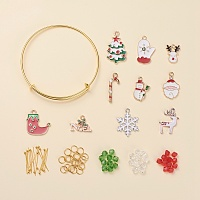 """Arricraft DIY Christmas Bangle Making, with Alloy Bangle Making, Imitate Austrian Crystal Bicone Glass Beads and Alloy Enamel Pendants, Mixed Color, 2-1/2""""(65mm); 5pcs/set"""