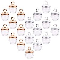 PandaHall Elite 50 pcs 8mm Mini Empty Clear Glass Globe Bottles with Silver & Light Gold Brass Bails Cap for Earring Pendant DIY Jewelry Making