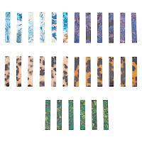 Cellulose Acetate(Resin) Big Pendants, Rectangle, Mixed Color, 53x9x2~3mm, Hole: 1.5mm, 5 colors, 6pcs/color, 30pcs/box