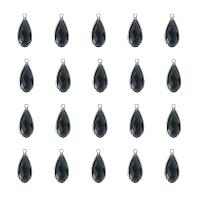 Olycraft Brass Glass Pendants, Faceted, Teardrop, Platinum, Dark Gray, 23.5x10.5x4.5mm, Hole: 2mm, 20pcs/box