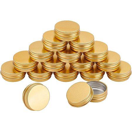 NBEADS Aluminum Box, with Screw Top Lid, Round, Golden, 4.1x1.7cm, Inner diameter: 3.5cm; 36pcs/box