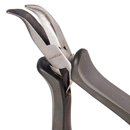 SUNNYCLUE 45# Carbon Steel Jewelry Pliers, Bent Nose Pliers, Polishing, Black, 12.5x8.15x1.7cm