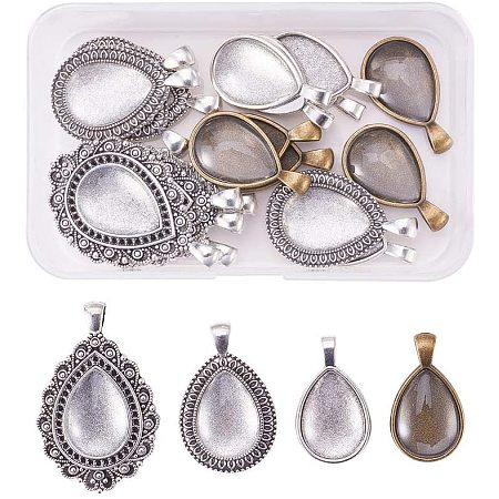NBEADS DIY Pendant Makings Sets, 24 PCS Tibetan Style Water Drop Shape Alloy Pendant Trays and 30 PCS Clear Glass Cabochons for Bracelet Necklace Craft DIY Jewelry Making, Mixed Color