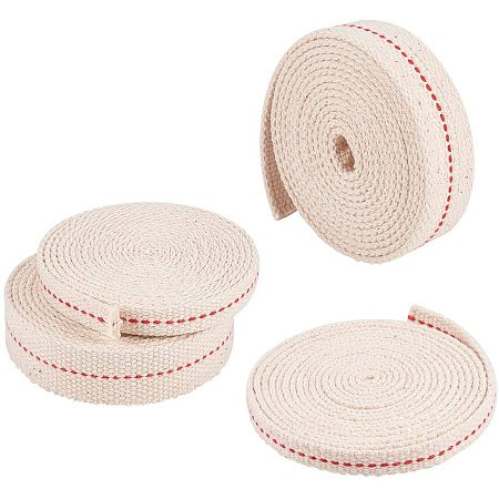 """PandaHall Elite 8 Yards 4 Sizes Flat Cotton Wick Oil Lantern Wick for Paraffin Oil or Kerosene Based Lanterns and Oil Lamps with Genuine Red Stitch (0.3"""", 0.4"""", 0.7"""", 0.9"""")"""