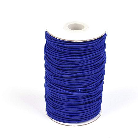 NBEADS A Roll of 70m Round Elastic Cord Beading Crafting Stretch String, with Fiber Outside and Rubber Inside, DarkBlue, 2mm