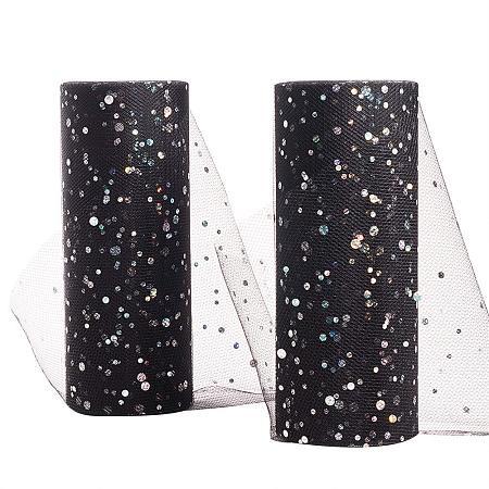 BENECREAT 2 Rolls Glitter Sequin Tulle Netting Fabric Tulle 6