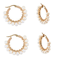 Unicraftale 304 Stainless Steel Hoop Earrings, with Natural Pearls, Ring, Golden, 34.5x36x7mm; Pin: 0.7x1mm; 2pairs/box