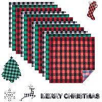 NBEADS 12 Sheets 30x30cm Heat Transfer Vinyl Plaid Fabric, Christmas Buffalo Plaid Pattern Clothing Patches for DIY Iron on Fabrics T-Shirts