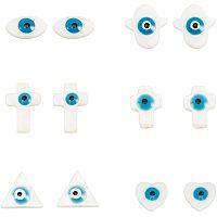 Freshwater Shell Beads, Evil Eye, Dodger Blue, 7.4x7.2x1.7cm; 9.5~17x8~15x3.5~4mm, 60pcs/box