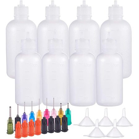 BENECREAT 8 Packs 1.7/3.4oz Multi-Purpose DIY Precision Tip Applicator Bottles Set, Fine Needle Tip Glue Applicator Squeeze Bottles for DIY Quilling, Acrylic Paint Artwork Hobbies, Oil Bottle