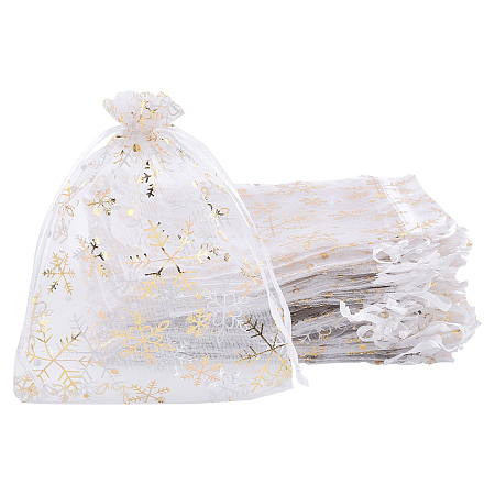 Arricraft Golden Snowflake Printed Organza Packing Bags, for Festival Christmas Day, Rectangle, White, 16x13cm