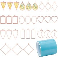 PH PandaHall Bezel Open Back Pendant with Tape, 30pcs Hollow Frame Pendant Blanks DIY Metal Frame with 5 Yards Seamless Paper Tape for Epoxy Resin UV Resin Pressed Flower Jewelry Making Crafts