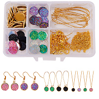 SUNNYCLUE 1 Box 115pcs DIY Jewelry Druzy Earrings Necklace Making Kit Include 24pcs Round Druzy Agate Resin Cabochons 12mm, 24pcs Dangle Cabochon Setting, 24pcs Earrings Hooks, 2m Cross Chains, Golden