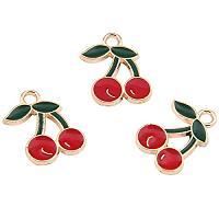 ARRICRAFT 100pcs Cherry Shape Alloy Enamel Pendants for Earring, Bracelets, Necklace Making, 18x13mm